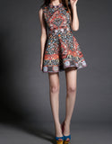 Sleeveless printed, beaded and embroidered short dress (More colours)