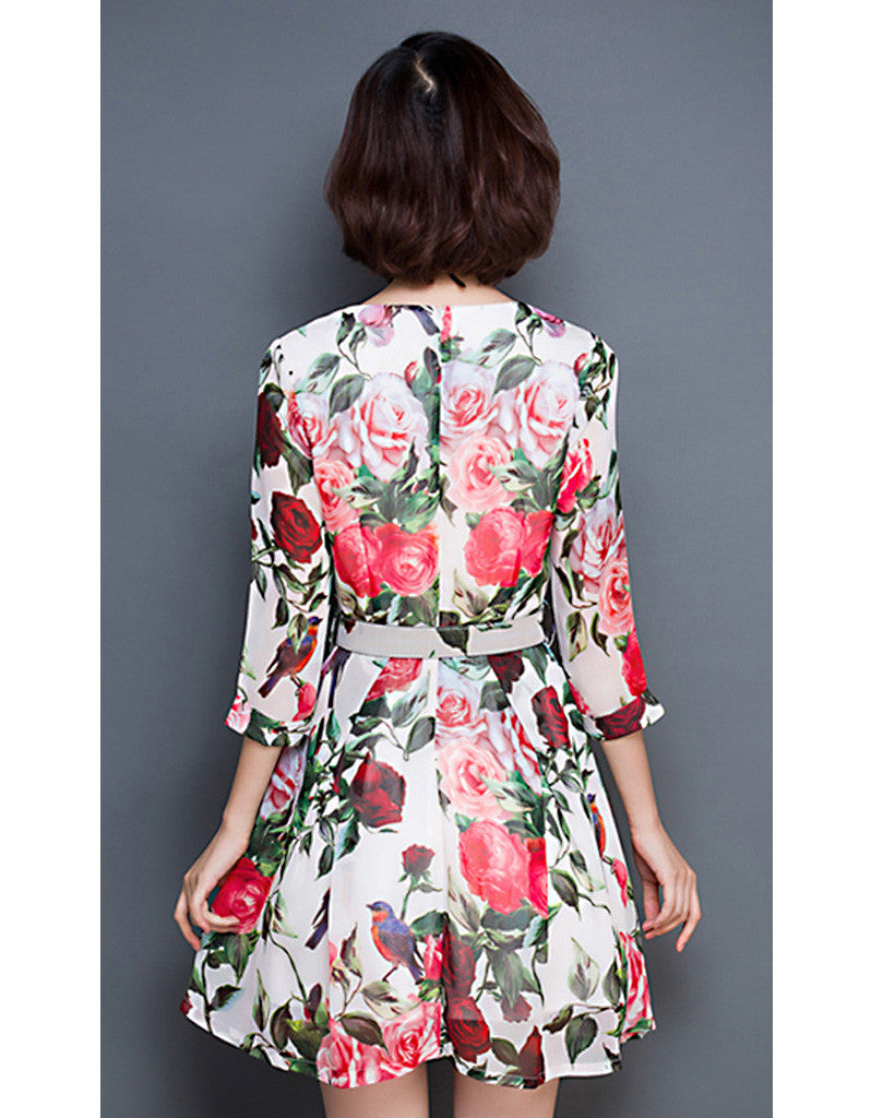 3/4 sleeve floral short dress