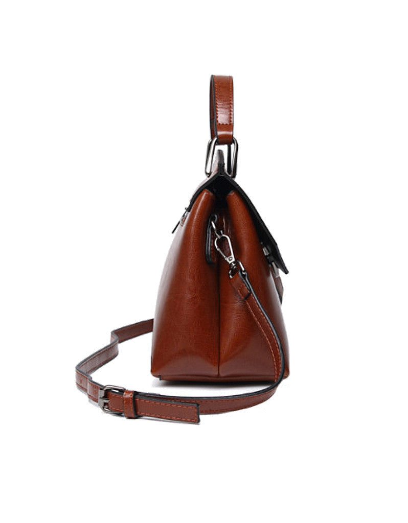 Genuine leather shoulder bag with C-shaped metal clasp (more colours)