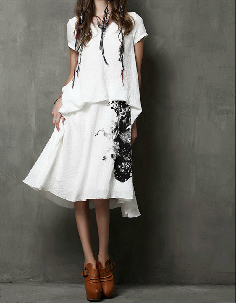 Short sleeve chinese-ink patterned dress