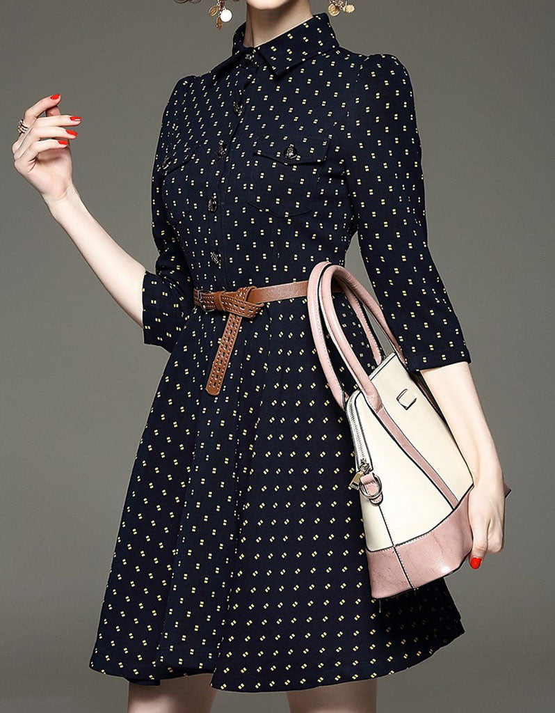 Mid-length sleeve patterned mid-length dress (More colours)