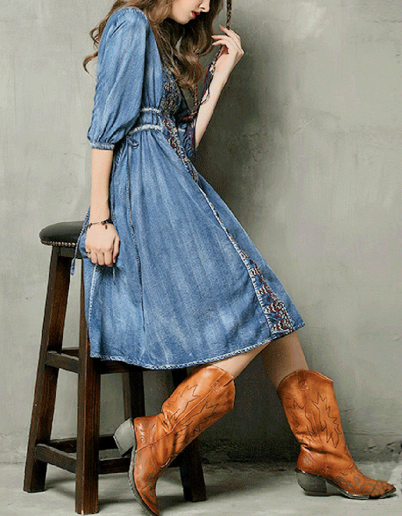 Mid-length sleeve front embroidery denim dress