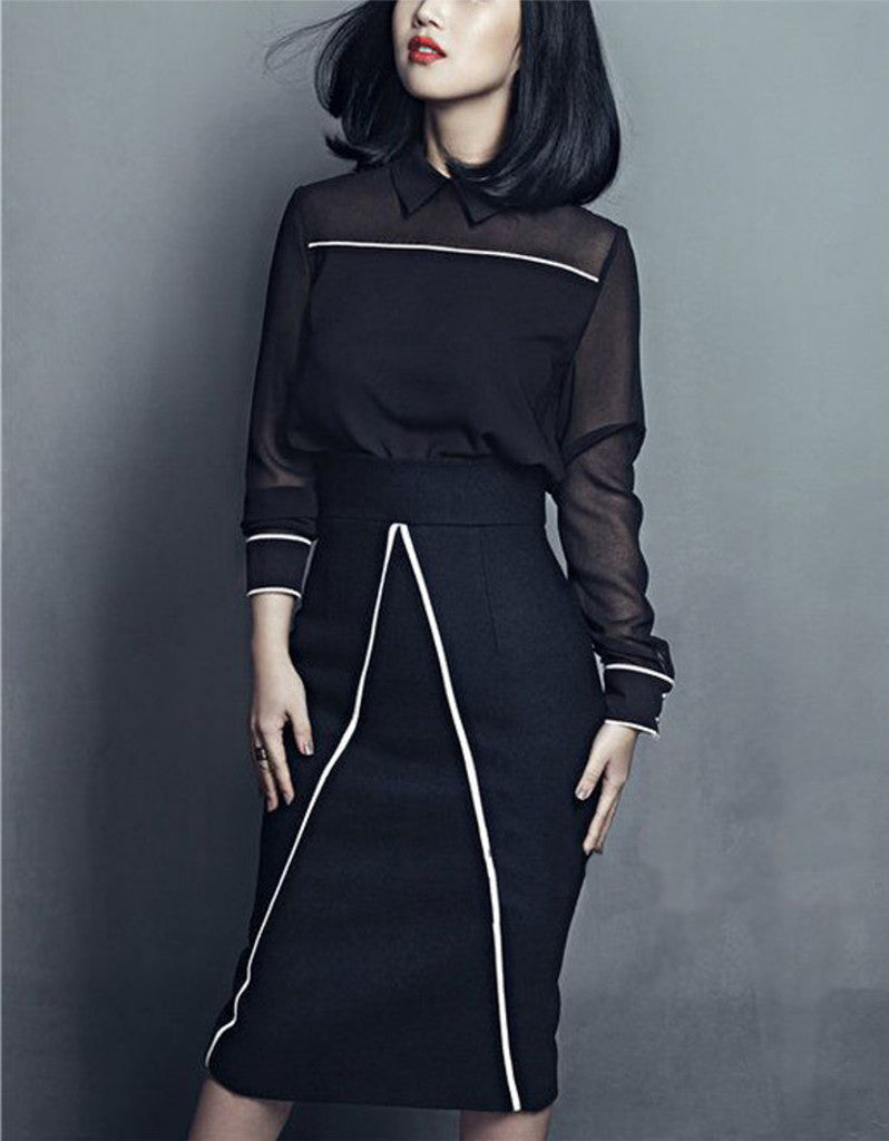 Long sleeve half chiffon top and tailored mid-length skirt