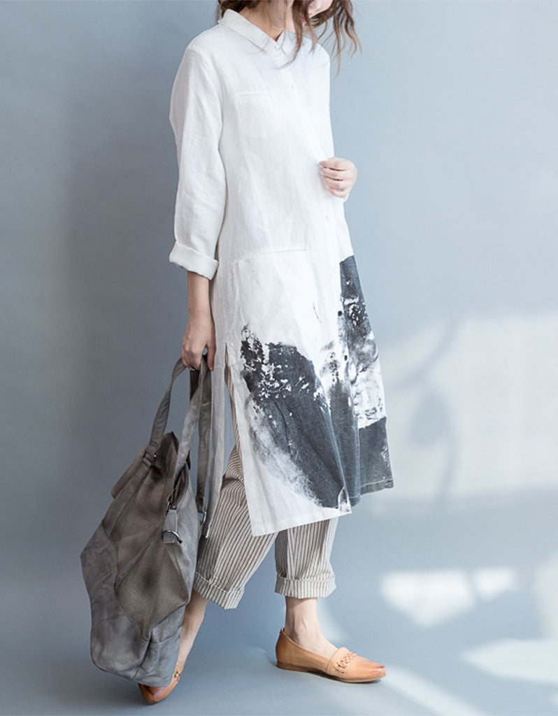 Oversized long sleeved shirt dress with Chinese painting