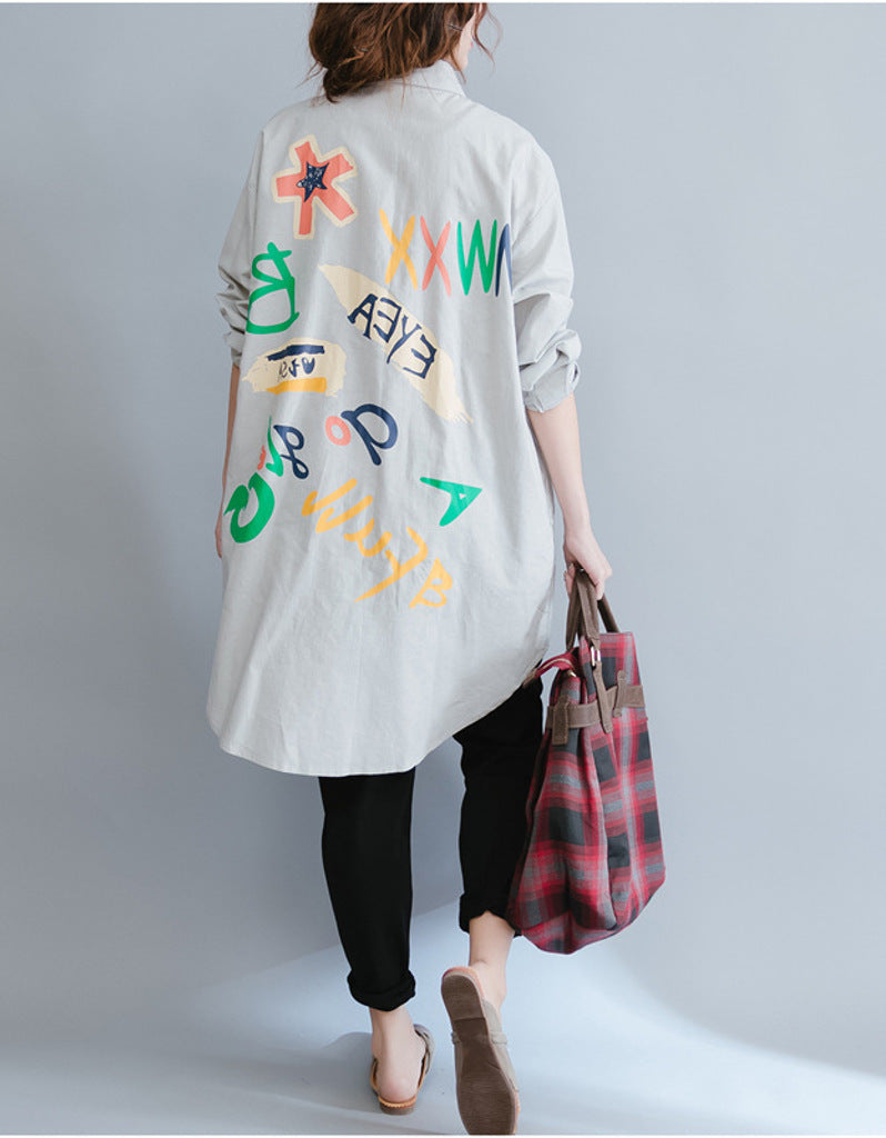 Oversized long sleeved shirt dress with patterns