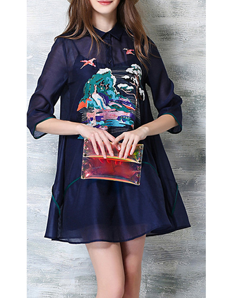 3/4 sleeve dress with front embroidery
