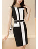 Monochrome patterned mid-length dress