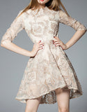 Mid-length sleeve sewn-on pattern short dress