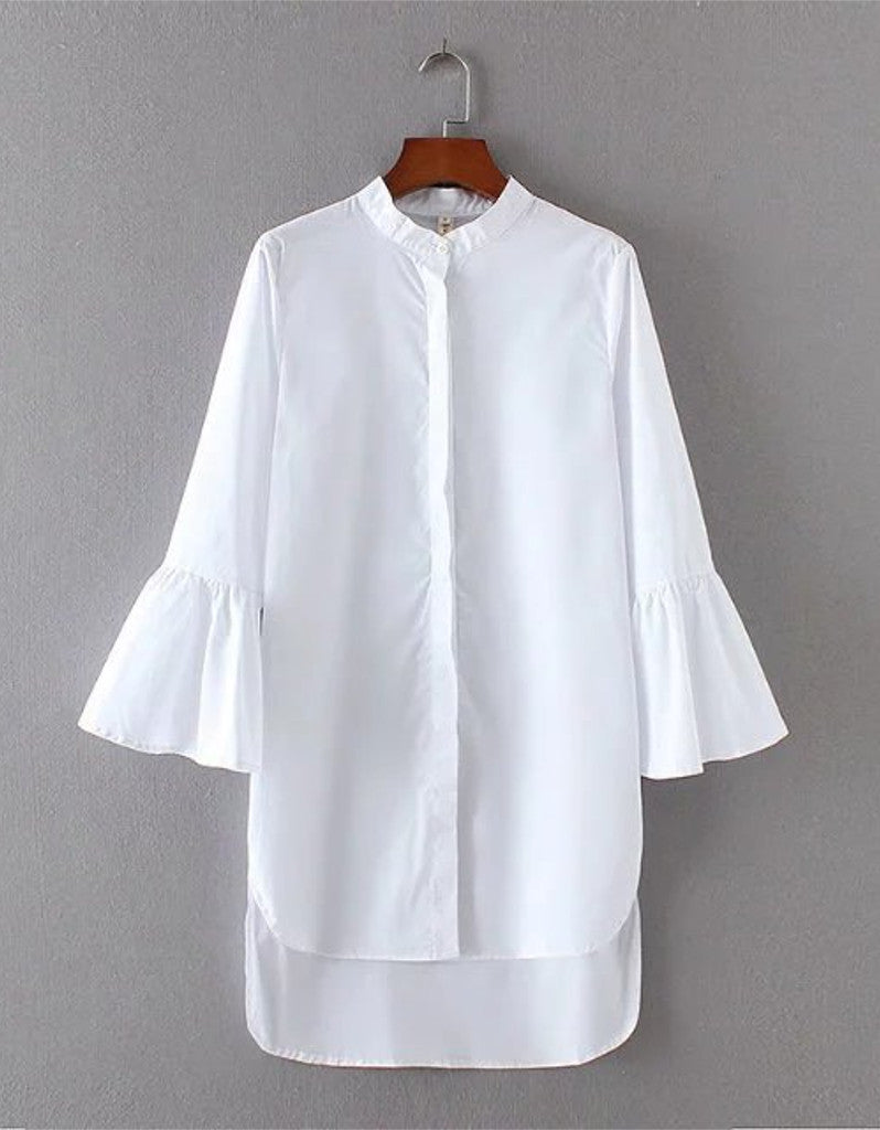 Long sleeve long shirt with half flared sleeves