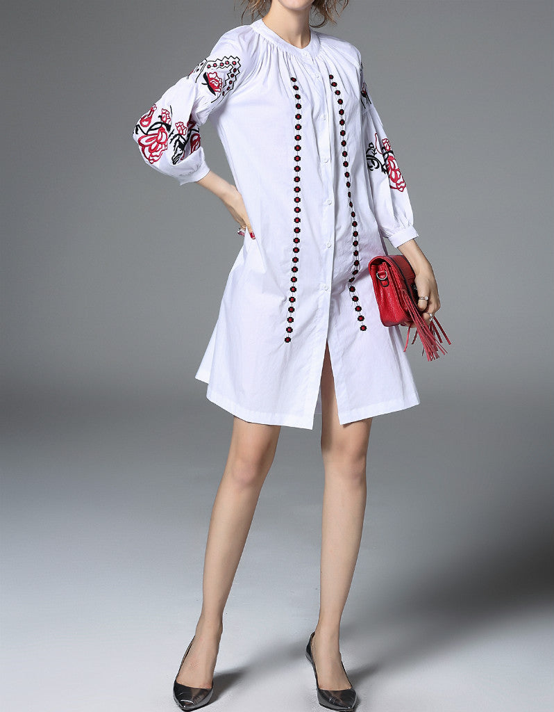 Poufed 3/4 sleeved short dress with embroidery (More colours)