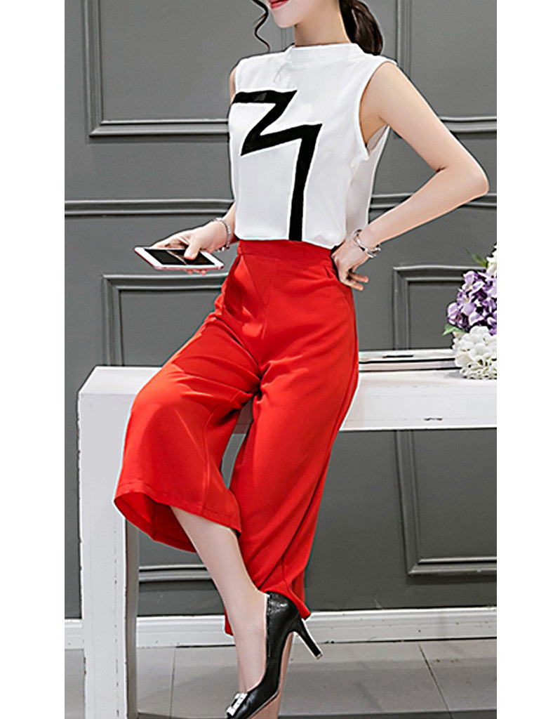 Lightning sleeveless top with mid-length culottes (More colours)