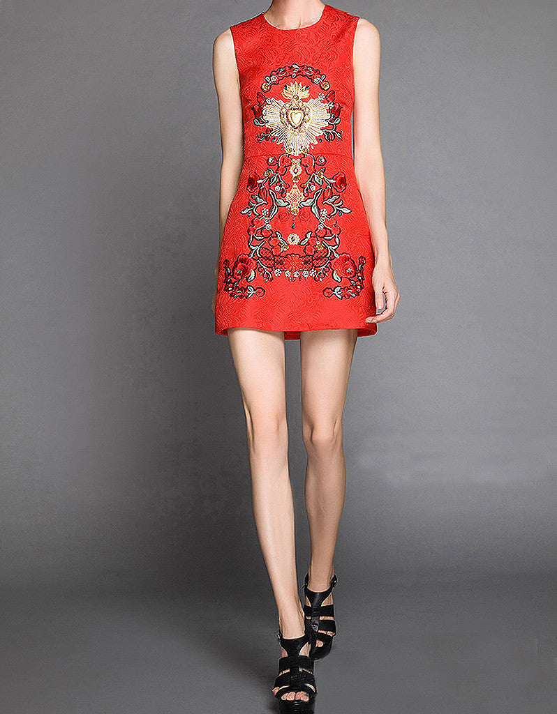 Sleeveless embroidered, beaded short dress with rhinestones