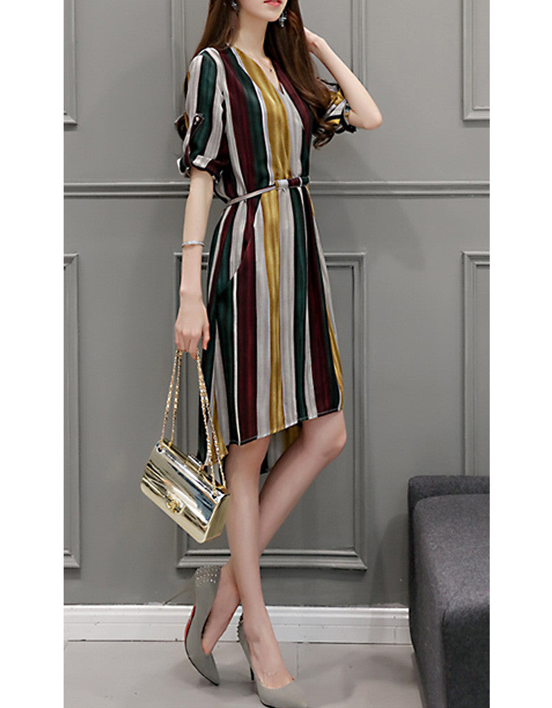 Multi-coloured striped dress with 3/4 sleeves