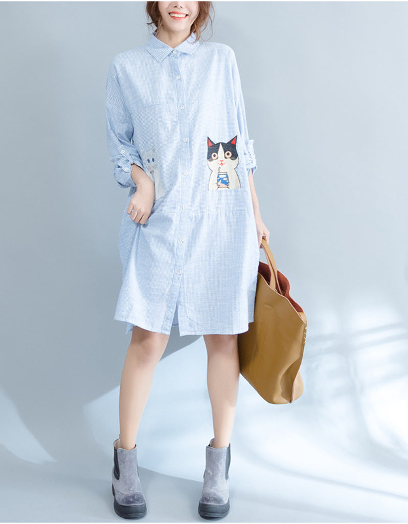 1509e8fd7739 Oversized long sleeved striped shirt dress with kitty picture – Sofiq