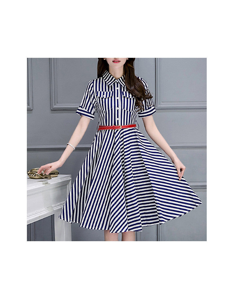 Short sleeve striped mid-length dress (More colours)