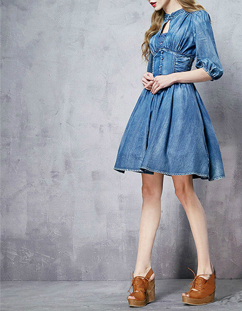Front laced mid-length sleeve short denim dress