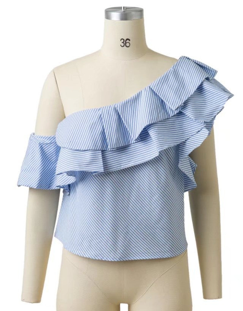 Off shoulder blue blouse with ruffles