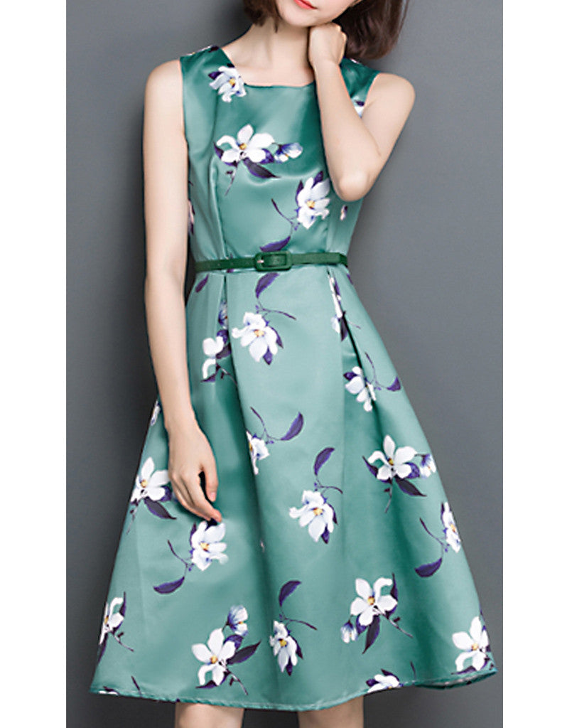 Sleeveless floral printed mid-length dress (More colours)