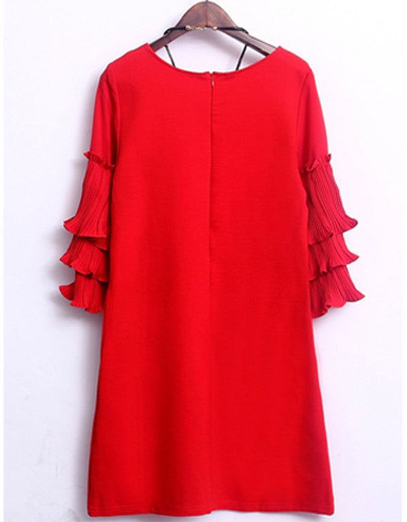Short dress with 3/4 length sleeve with frills (More colours)
