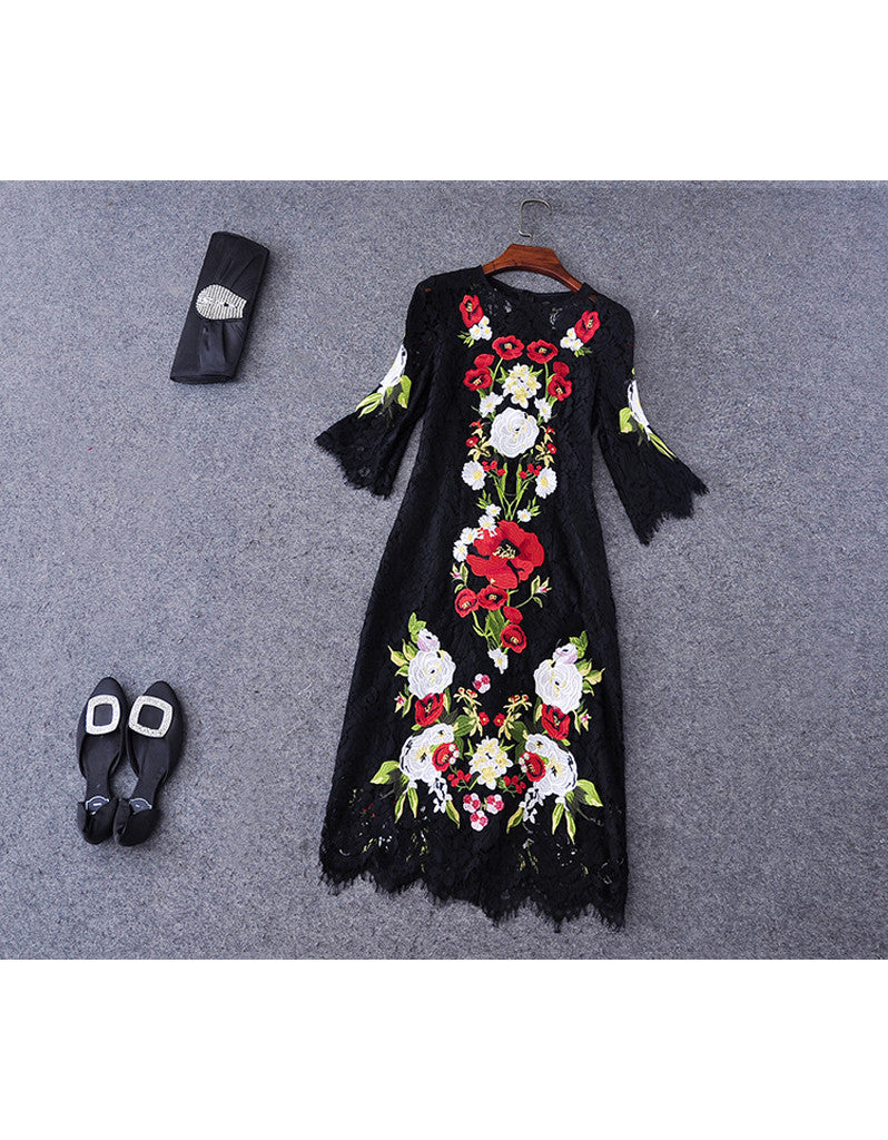 Mid-length sleeve embroidered long dress