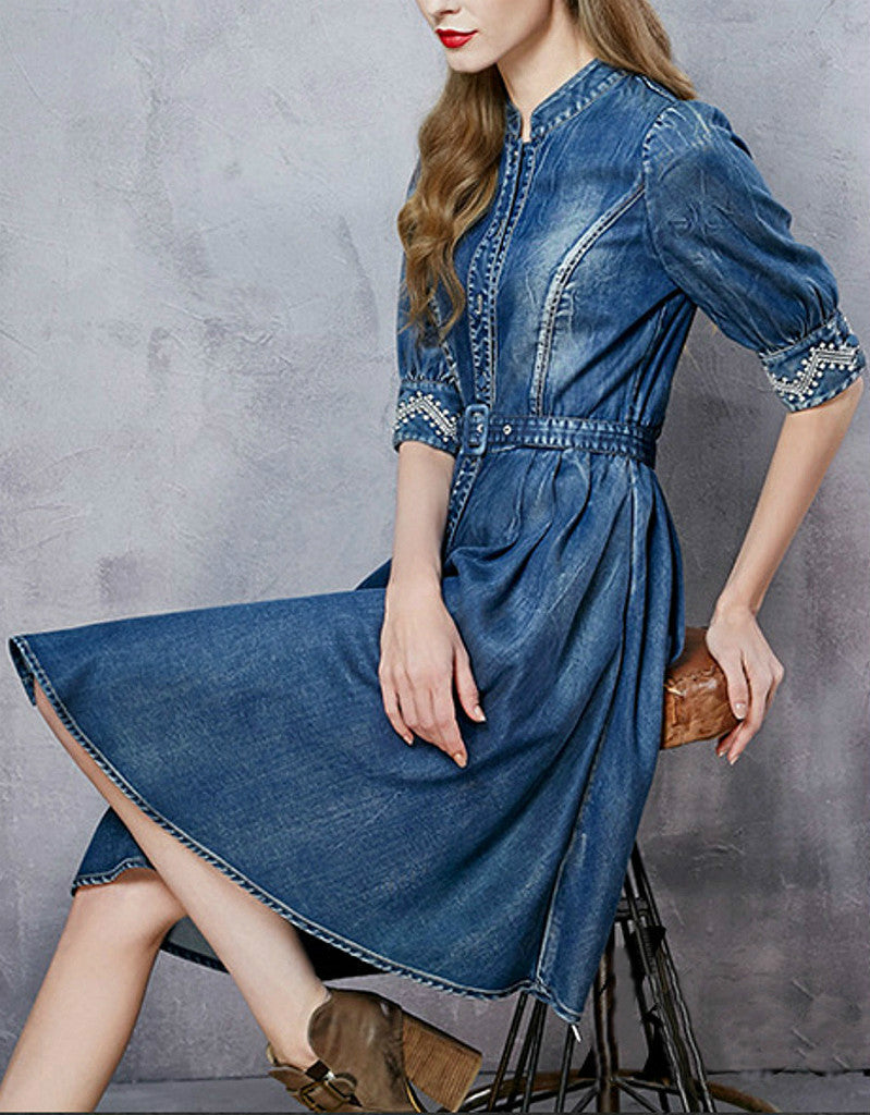 Mid-length embroidered sleeve short denim dress
