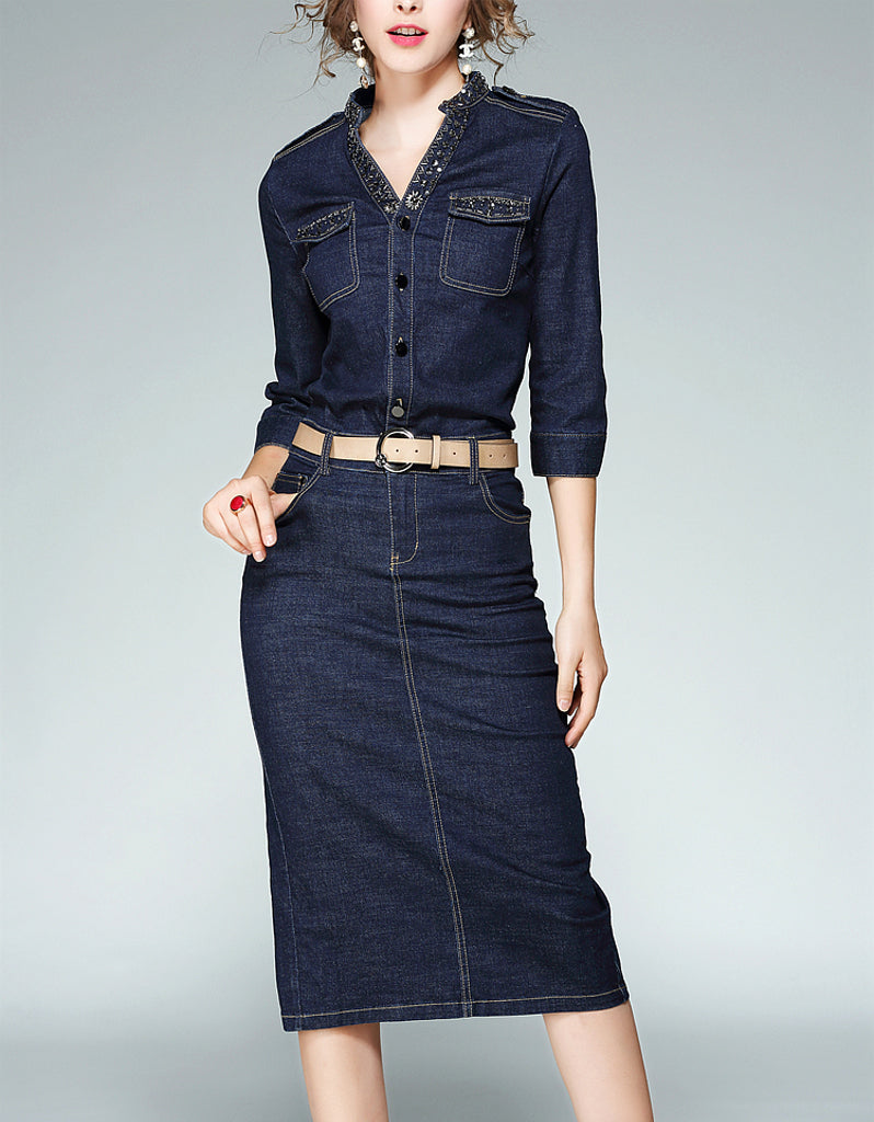 Embellished mid-length sleeve tailored denim mid-length dress