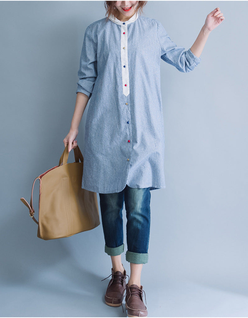Oversized long sleeved striped shirt dress with multi-coloured buttons