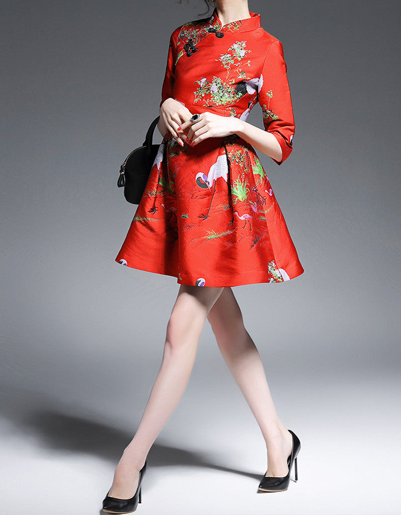 Mid-length sleeve embroidered short flared cheongsum (More colours)