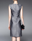 Grey sleeveless tailored mid-length dress