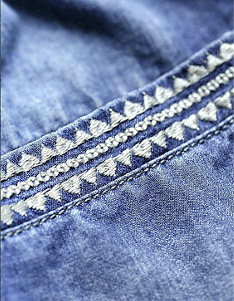 3/4 embroidered denim pants