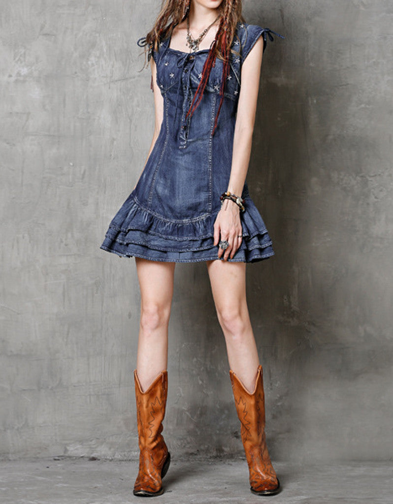 Denim short dress with embroidery and frills