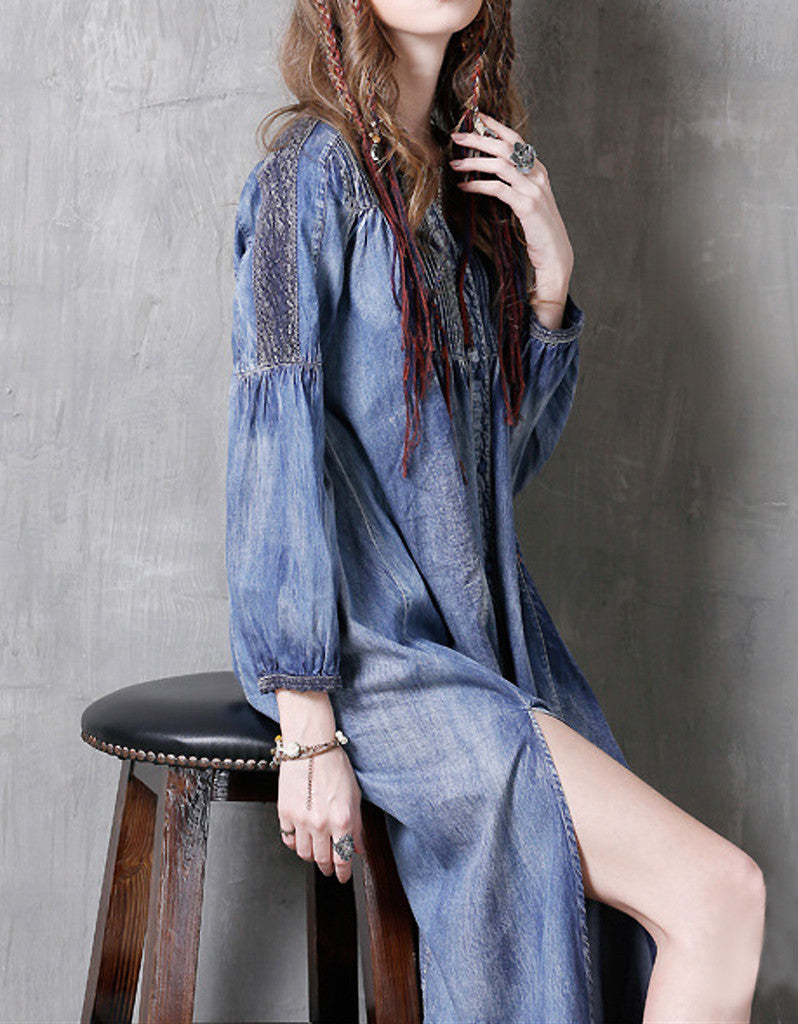 Long sleeve side-slit denim dress