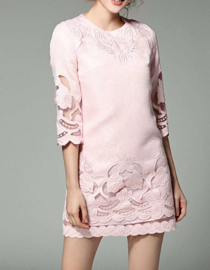 Mid-length sleeve with cut-out embroidery and lace short dress (More colours)
