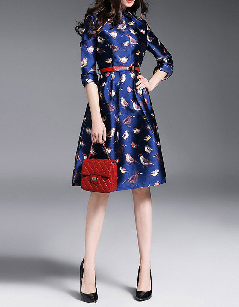 Mid-length sleeved A-line mid-length dress with birdie prints