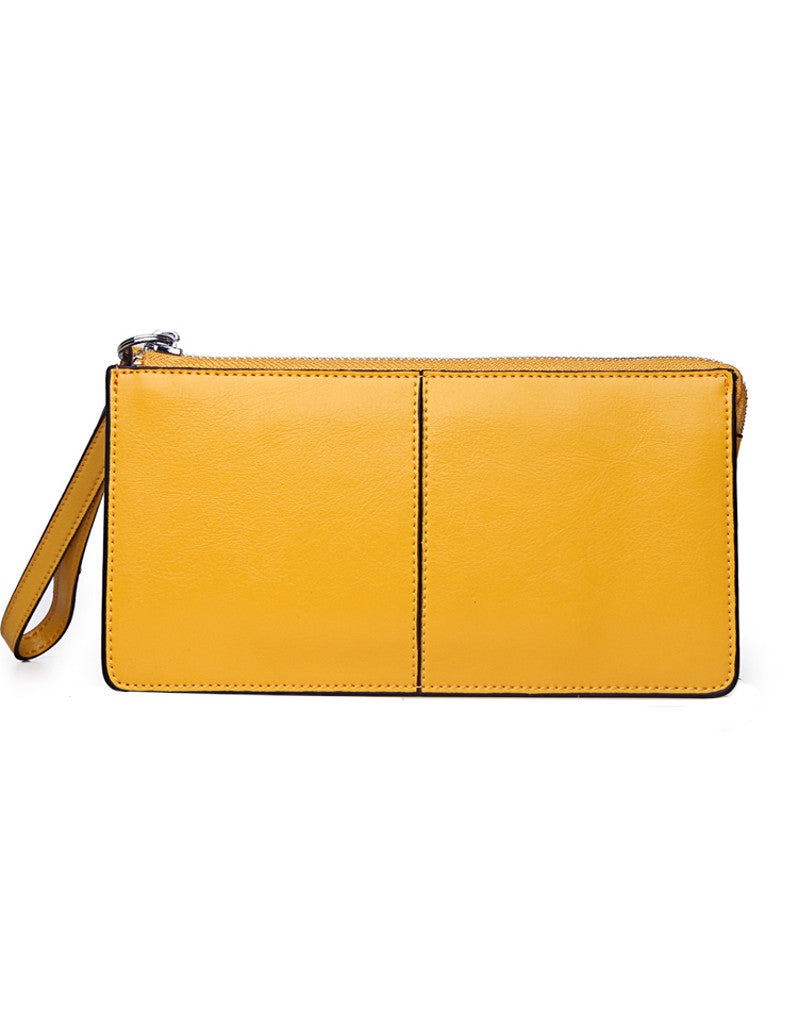 Genuine leather long wallet with wristlet strap (more colours)