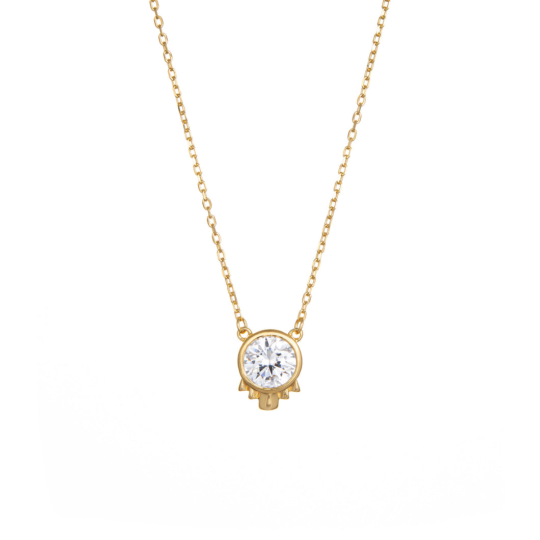 Deco Solitaire Necklace - White