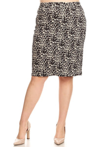 Leopard Denim Skirt