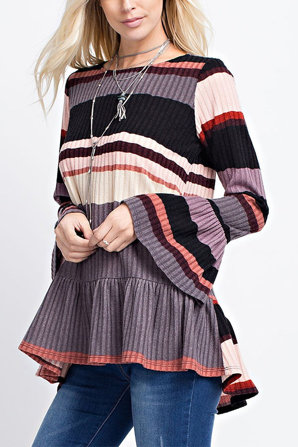 Sweet Striped Bell Sleeve Sweater