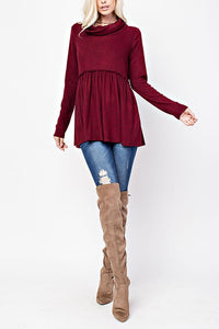 Cozy Cowl Tunic- Burgundy