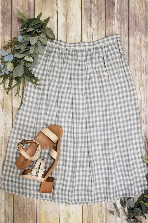 Mint & White Plaid Skirt