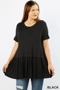 Plus Size Ruffle Hem Top in Black