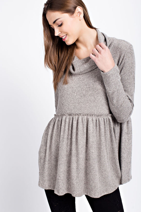 Cozy Cowl Tunic-Tan