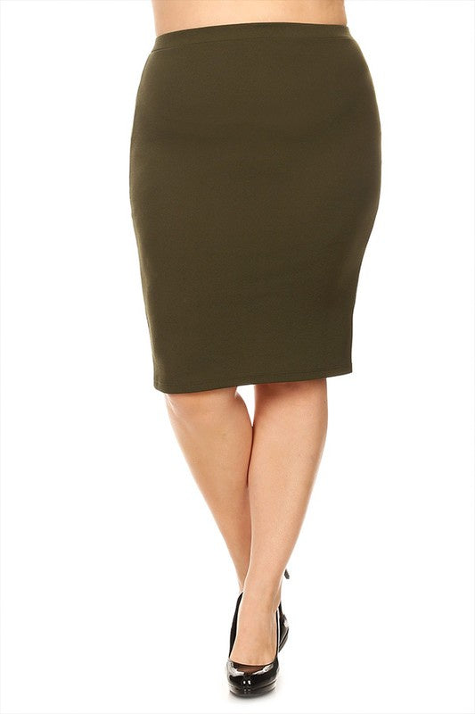 Plus Olive Pencil Skirt