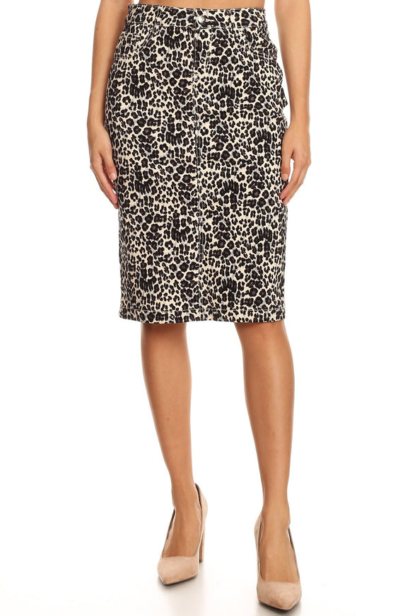 Leopard Denim Skirt (Slim)