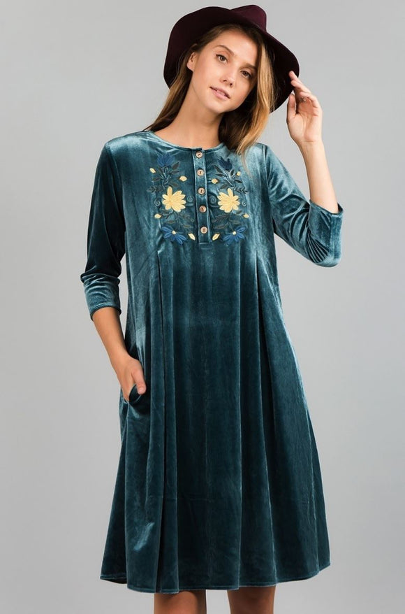Velvet Vibes Dress in Teal