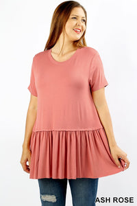 Plus Size Ruffle Hem Top in Rose