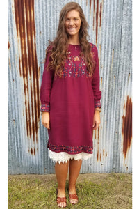 Evie Embroidered Dress in Burgundy