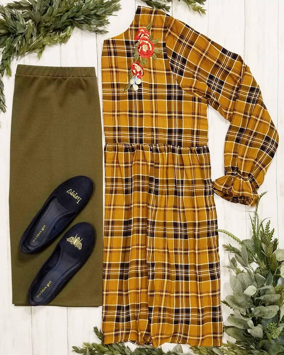 Styled to Smile Plaid Dress in Mustard
