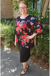 Floral Plus Size Top (Black)