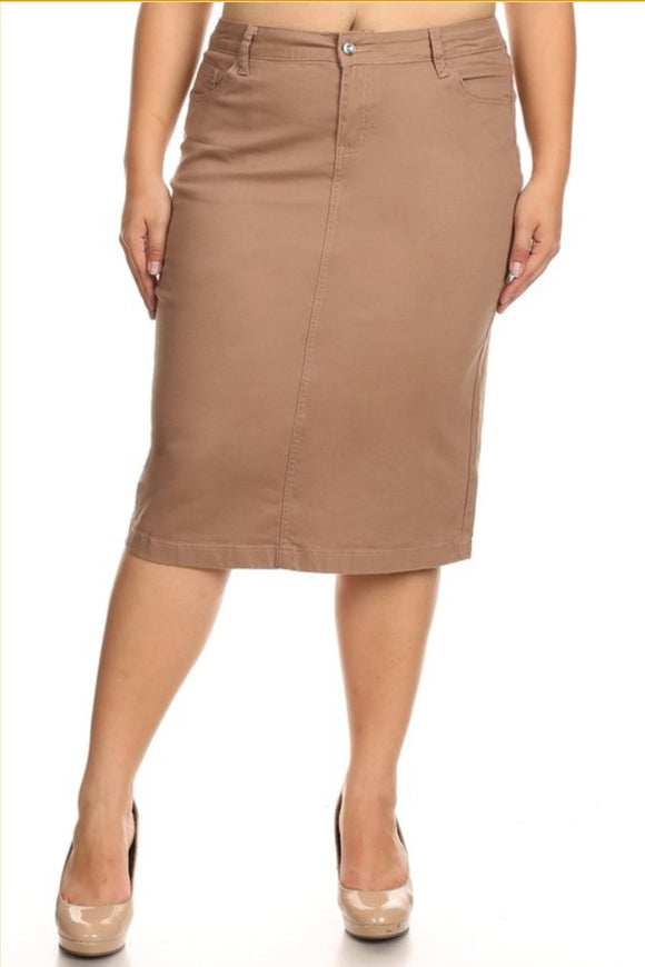 Plus Khaki Jean Skirt